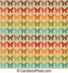 תבנית, פרפרים, style., seamless, ראטרו