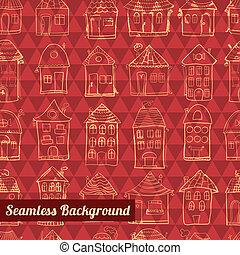 תבנית, תאר, חמוד, seamless, בתים