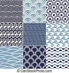 תבנית, seamless, גל של אוקינוס
