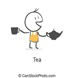תה, בחור, שותה