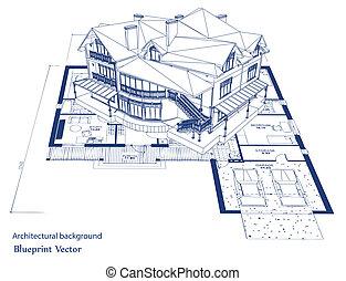 תוכנית, וקטור, house., אדריכלות