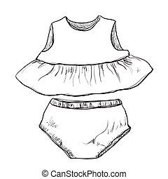 תינוק, חדקים, התלבש, clothes.