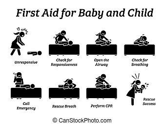 תינוק, טיפול, עזור, הדבק, או, ילד, icons., הצל, דמויות, תינוק, חירום, ראשון