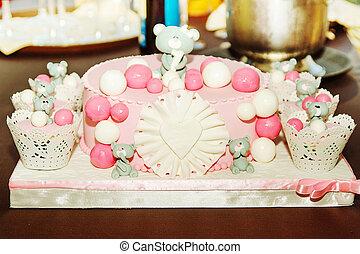 תינוק, עוגה, ילדה, יום הולדת, פרטים