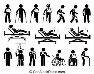תמוך, מוצרים, פגיעה, מגיע, ורטופאדיכס, כאב, גוף, accident., רפואי