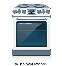 תנור, מטבח, הפרד, vector., white.