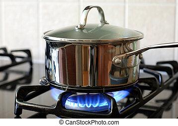 תנור, סיר, גז