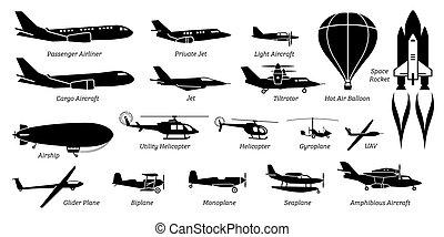 תעופה, מטוס, הקצע, אווירון, שונה, רשום, icons., מטוס