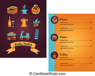 תפריט, איטלקי, עצב, מסעדה