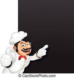 תפריט, טבח, בשל, וקטור, דפוסית, chalkboard.