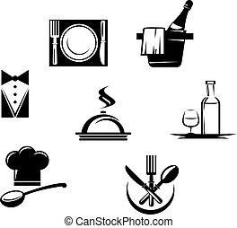 תפריט, מסעדה, יסודות, איקונים