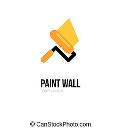 תקן, דירות, logo., walls., template., צבע, וקטור, עצב, לוגו, בתים, לצבוע, התגלגל, מוט גלילי, איקון