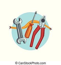 תקן, וקטור, מברג, דוגמה, בניה, משוך, פליירז, איקון, כלים, ציור היתולי