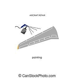 תקן, מטוס, painting., כנף, תחזוקה