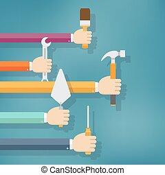תקן, עבודת בית, tools., להחזיק ידיים