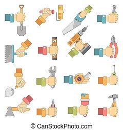 תקן, קבע, דירה, עבודה, וקטור, להחזיק ידיים, איקונים, כלים, נגרות
