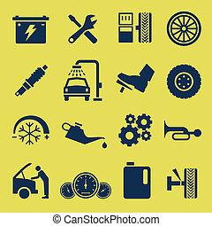 תקן, שרת, מכונית, סמל, מכונית, איקון
