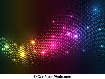 תקציר, וקטור, lights., רקע, halftone