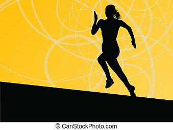 תקציר, לרוץ, דוגמה, צלליות, וקטור, רקע, פעיל, אתלטיקה, ספורט, נשים