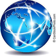 תקשורת, גלובלי, עולם, סחר