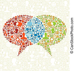 תקשורת, דבר, סוציאלי, איקון, קבע, בועות