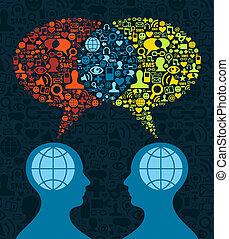 תקשורת, סוציאלי, מוח, תקשורת