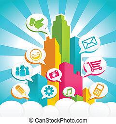 תקשורת, סוציאלי, צבעוני, עיר