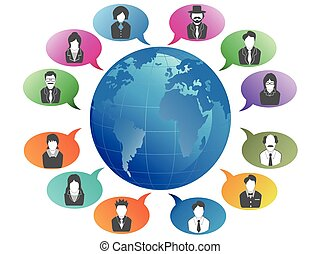 תקשורת, עולם, מסביב, אנשים של עסק