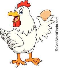 תרנגולת, ביצה, ציור היתולי, להחזיק