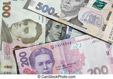 -, החלף, דולר, אקראיניאן, שטרות בנק, הערך, hryvnia, ארהב, ממן, bills., דולרים, יוקריין, כסף