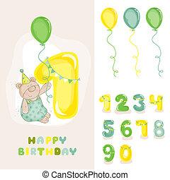 -, וקטור, כרטיס, הזמנה, תינוק, איחול, editable, ילד, יום הולדת, מספרים