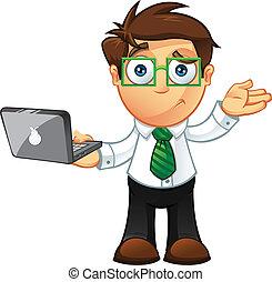 -, מחשב נייד, לא בטוח, איש של עסק