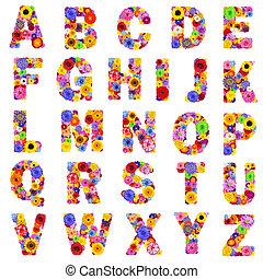 -, מכתבים, פרחוני, *z*, הפרד, לבן, אלפבית, מלא