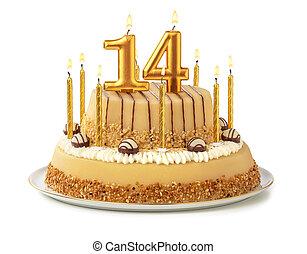 -, נרות, עוגה, חגיגי, זהוב, מספר, 14