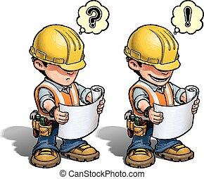 -, עובד של בניה, התכנן, לקרוא