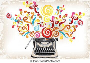 -, ערבולים, יצירתיות, תקציר, מכונת כתיבה