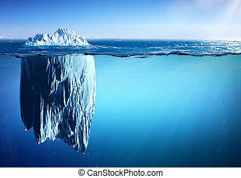 -, קרחון, לצוף, ים, לחמם, גלובלי, מושג, הופעה