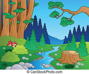 1, ציור היתולי, נוף, יער