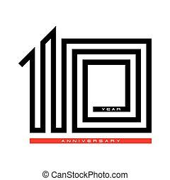 10, עשרה, מושג, יום שנה, וקטור, עצב, שנה, לוגו, חגיגה
