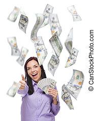 $100, אישה, מסביב, הרבה, להחזיק, לפול, חשבונות, שמח