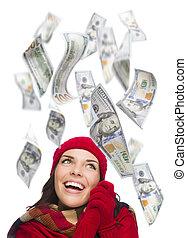 $100, אישה, מסביב, שלה, צעיר, לפול, חשבונות, רגש