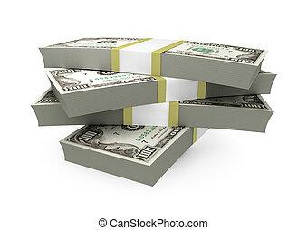 $100, -, הפרד, רקע, לבן, חשבונות, לגוז