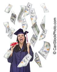 $100, נקבה, שלה, הרבה, סיים, להחזיק, לפול, חשבונות, מסביב