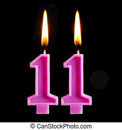 11, להשרף, יצור, אחד עשר, נרות, הפרד, רקע., יום הולדת, דמויות, עוגה, שחור