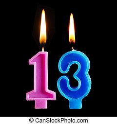 13, להשרף, יצור, נרות, הפרד, רקע., יום הולדת, דמויות, שלושה עשר, עוגה, שחור