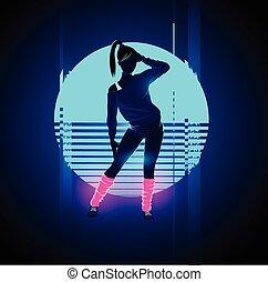 1980's, רקדן, ראטרו, glitch