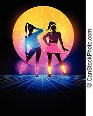1980's, רקע, נשים, רקדנים