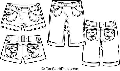 2, סיגנון, עצב, גברת, מכנסים קצרים