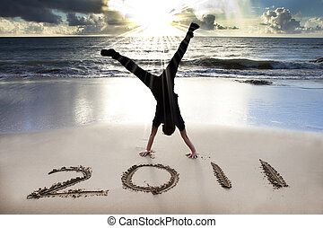 2011, החף, צעיר, עלית שמש, שנה, חדש, שמח, האנדסטאנד, חגוג, איש
