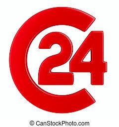 24, סמל, הפרד, שעות, רקע., לבן, דמות, 3d